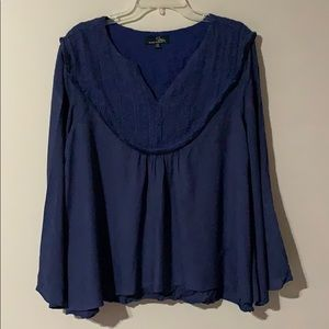 Suzanne Betro - Long Sleeve Navy Blue Blouse